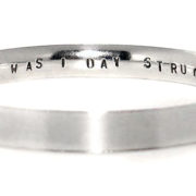 silver personalised message bangle flat