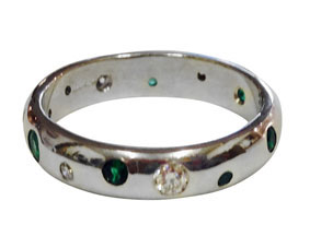 Colette Hazelwood Contemporary Jewellery. 18ct White Gold Eternity Ring with Emeralds and Diamonds