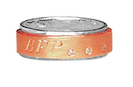 silver and red gold spinning ring with diamonds