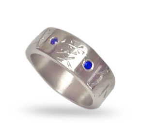 white gold sapphires chinese writing ring