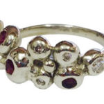 9ct White Gold Half Bobble Ring with Rubies & Diamonds (remake)