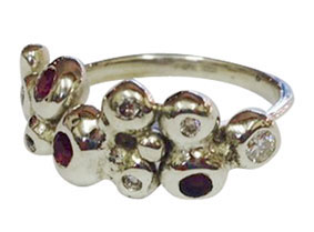 9ct White Gold Half Bobble Ring with Rubies & Diamonds (remake) Colette Hazelwood Contemporary Jewellery.