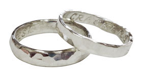 Colette Hazelwood Contemporary Jewellery. 9ct White Gold Hammered Wedding Rings