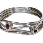 9ct White Gold with Ruby & Sapphire Ring