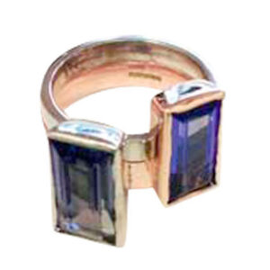 Colette Hazelwood Contemporary Jewellery. 9ct White, Red Gold & Tanzanites Ring