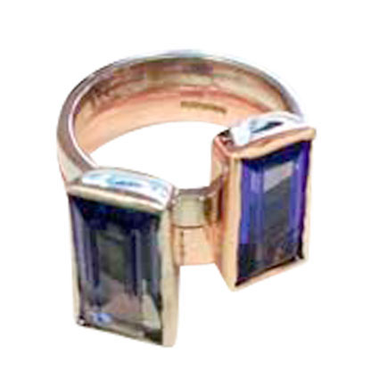Colette Hazelwood Contemporary Jewellery 9ct White, Red Gold & Tanzanites Ring