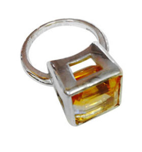 Colette Hazelwood Contemporary Jewellery. CAD Designed Silver Ring with Citrine