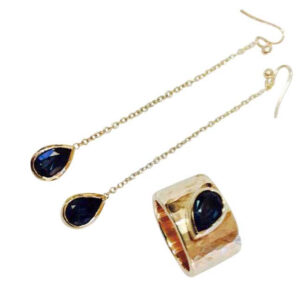 Colette Hazelwood Contemporary Jewellery. Chunky 9ct Yellow Gold Hammered Ring-with London Blue Topaz and Long Earrings