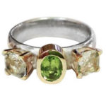 Gold, Silver, Peridot & Clear Topaz Ring