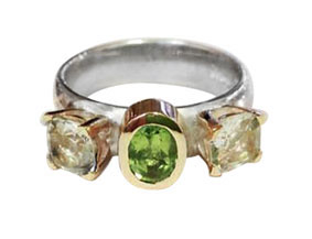 Colette Hazelwood Contemporary Jewellery. Gold, Silver, Peridot & Clear Topaz Ring