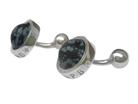 silver and obsidian cuff links