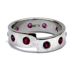 Palladium Ring with Rubies by Colette Hazelwood Contemporary Jewellery.