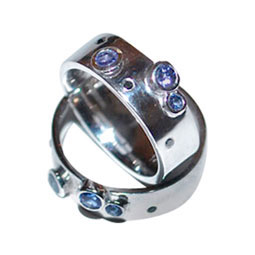 palladioum, diamond and tanzanite rings by Colette Hazelwood Contemporary Jewellery.