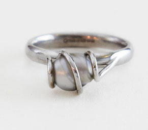 Colette Hazelwood Contemporary Jewellery. Pearl & 18ct White Gold Engagement Ring