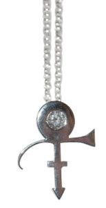 Colette Hazelwood Contemporary Jewellery. Platinum & Diamond Prince Symbol Necklace (remake)