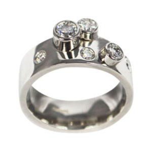 Colette Hazelwood Contemporary Jewellery. Platinum with Diamonds Engagement Ring