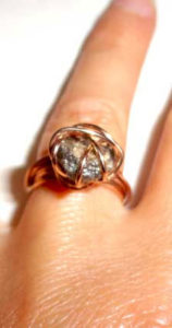 Colette Hazelwood Contemporary Jewellery. red gold and rough diamond ring