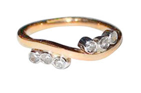 Colette Hazelwood Contemporary Jewellery. Red Gold with Diamonds Ring (remake)