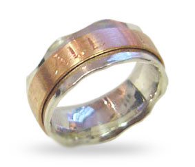 Silver & 9ct Red Gold- Rose-Gold) Wedding Ring