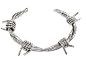 Colette Hazelwood Contemporary Jewellery. Silver Barb Wire C-Bangle