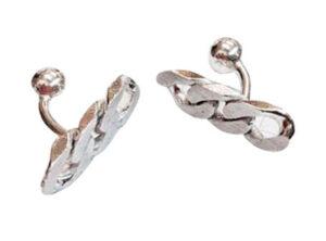 silver chain cuff links