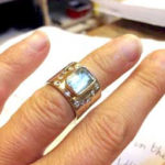 Silver Gold Ring with Aquamarin & Diamonds