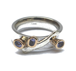 Silver & Gold Ring with Tanzanites