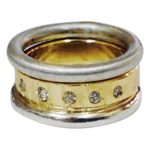 Colette Hazelwood Contemporary Jewellery. gold, silver and diamonds stacking ring