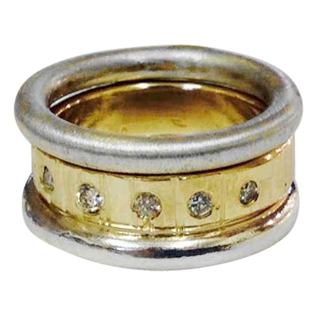 gold, silver and diamonds stacking ring