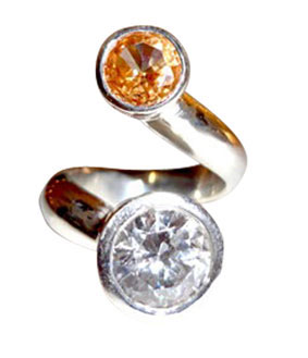 Colette Hazelwood Contemporary Jewellery Silver & Large CZ's Ring