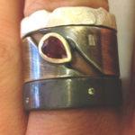 Silver Ruby & Diamonds Rings
