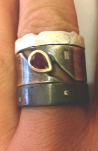 Colette Hazelwood Contemporary Jewellery. Silver Ruby & Diamonds Rings