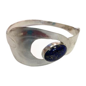 silver and lapiz lazuli spoon bangle