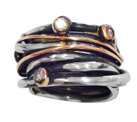 silver, red gold & diamond ring