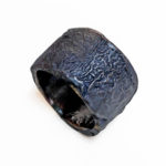 Colette Hazelwood Contemporary Jewellery Iron Shard Ring - oxidised and reticulated silver