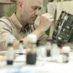 Lee Page hanson Ceramics at studio 4 Manchester Craft & Design Centre with contemporary jewellery designer Colette Hazelwood