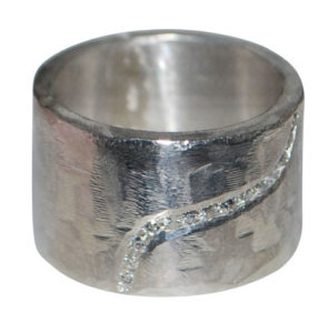 15mm silver heavy filed ring with diamonds