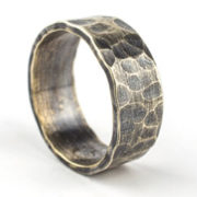 8mm oxidised silver hammered ring