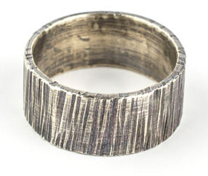 10mm bark hammered oxidised silver rings