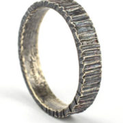 3mm bark hammered oxidised silver ring