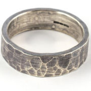 6mm hammered oxidised silver ring