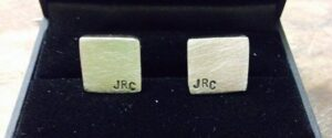 message cuff links silver