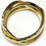 18ct gold hammered wrap ring