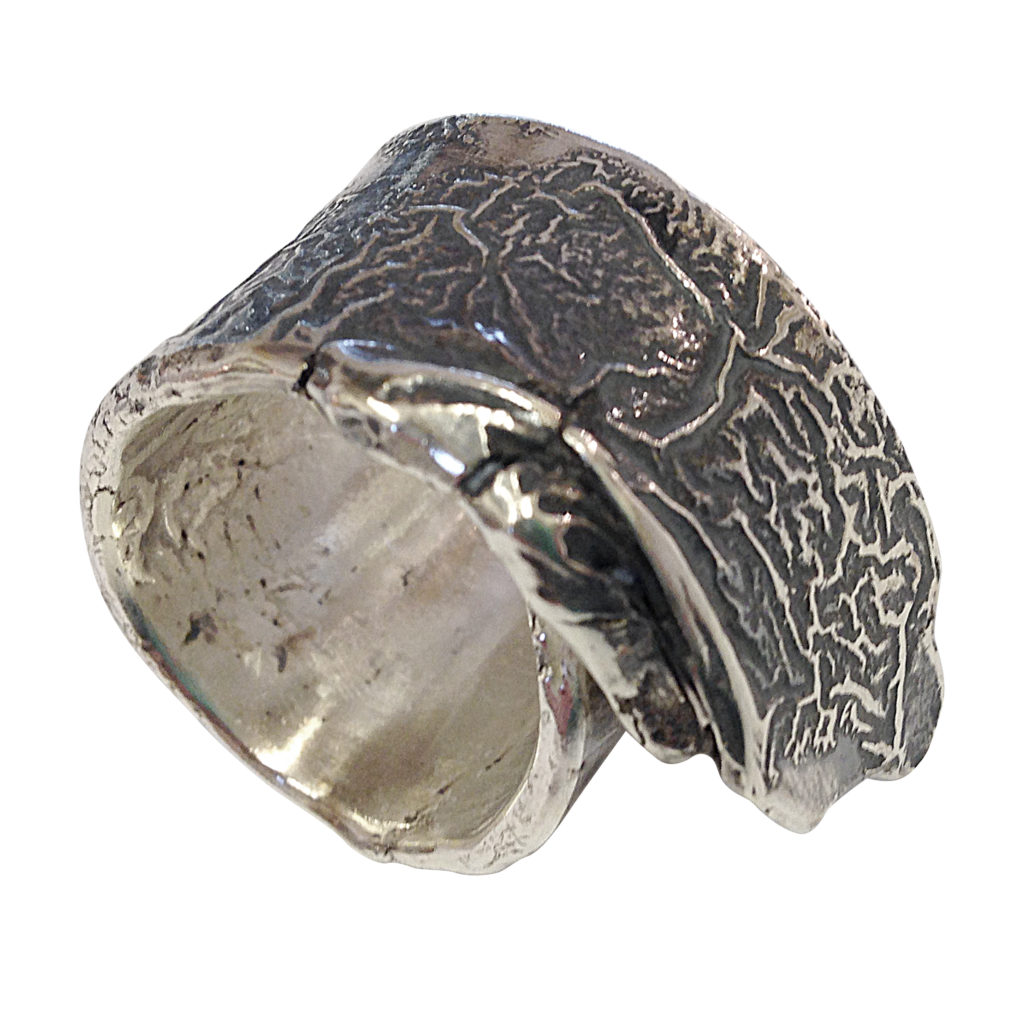 oxidised heavry reticulated silver ring by Colette Hazelwood Contemporary Jewellery