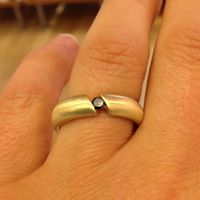 yellow gold and balck diamond ring with a matt brushed finish by Colette Hazelwood Contemporary Jewellery.