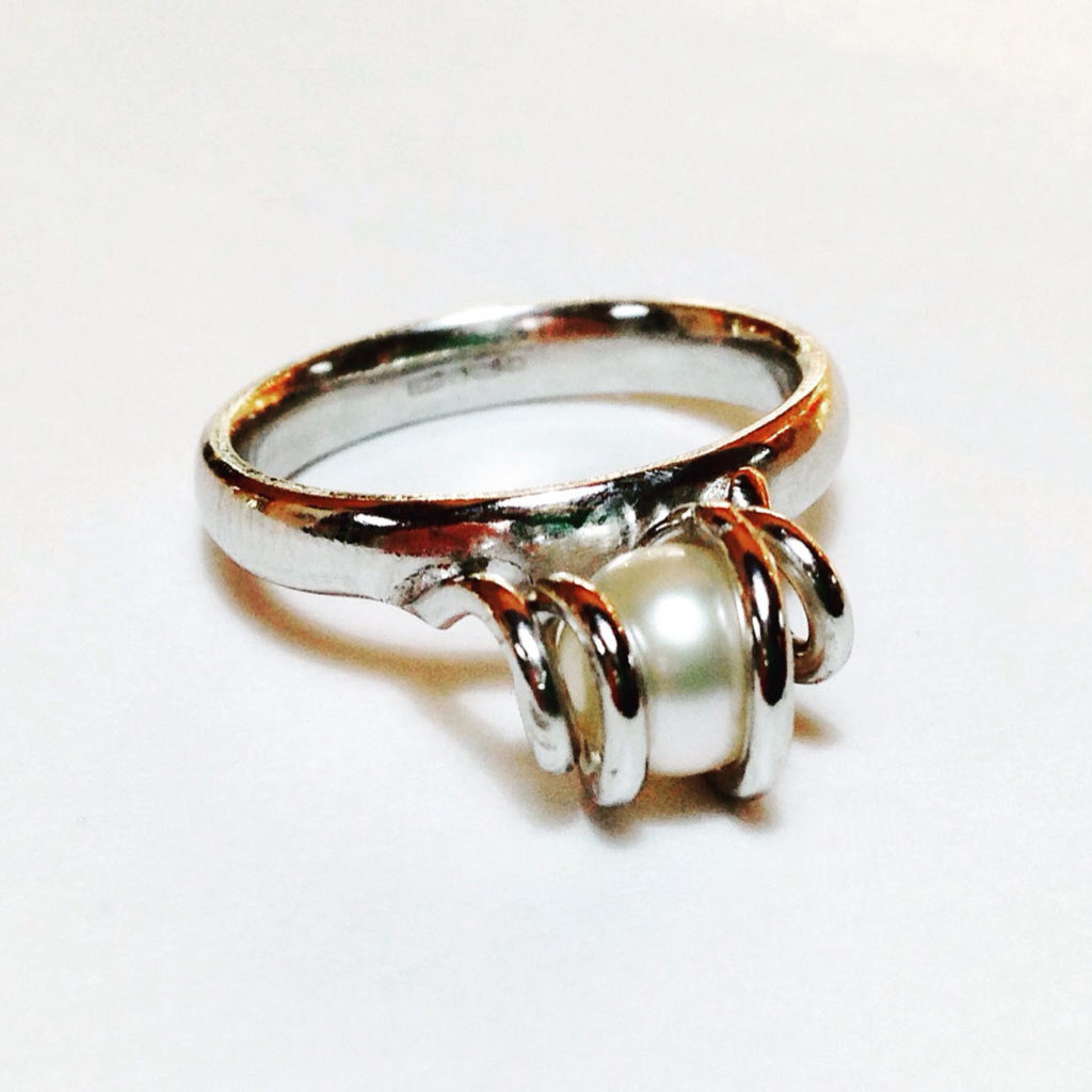 Colette Hazelwood Contemporary Jewellery Pearl and 18ct white gold ring