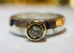 silver, gold and diamond hammered ring