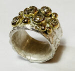 Silver Textured Ring with 18ct gold and diaminds. 1 of 5.