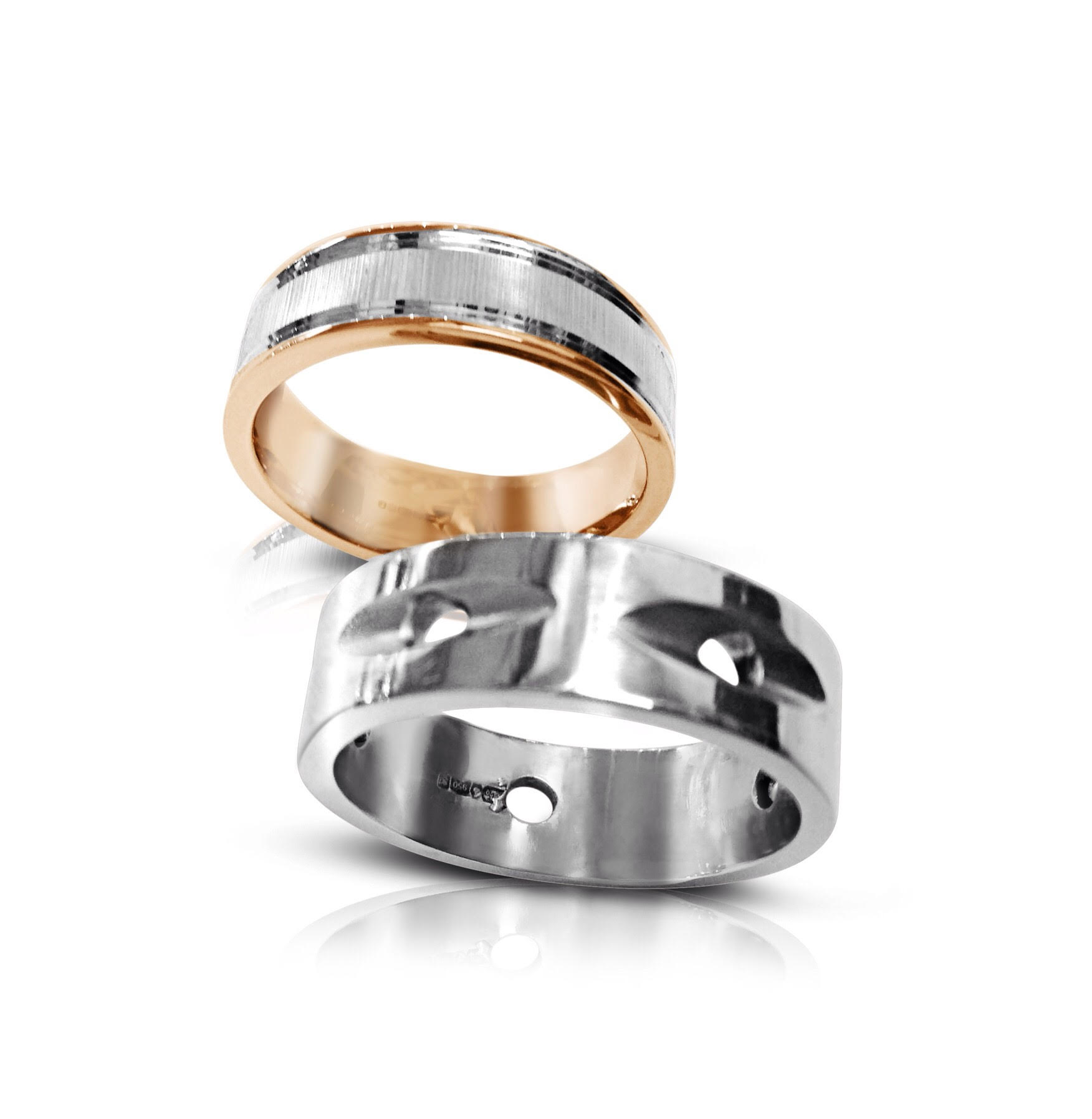 Polished platinum rings by Colette Hazelwood Contemporary Jewellery