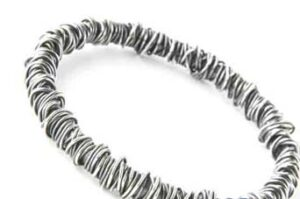 Colette Hazelwood Contemporary Jewellery fine wraparound bangle, oxidised silver